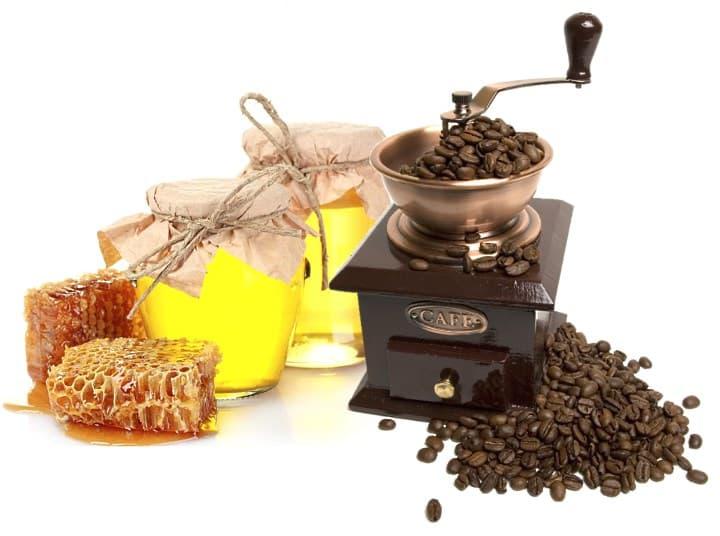 Мед і кави, маска кави і мед, мед і кави для обличчя, скраб для тіла